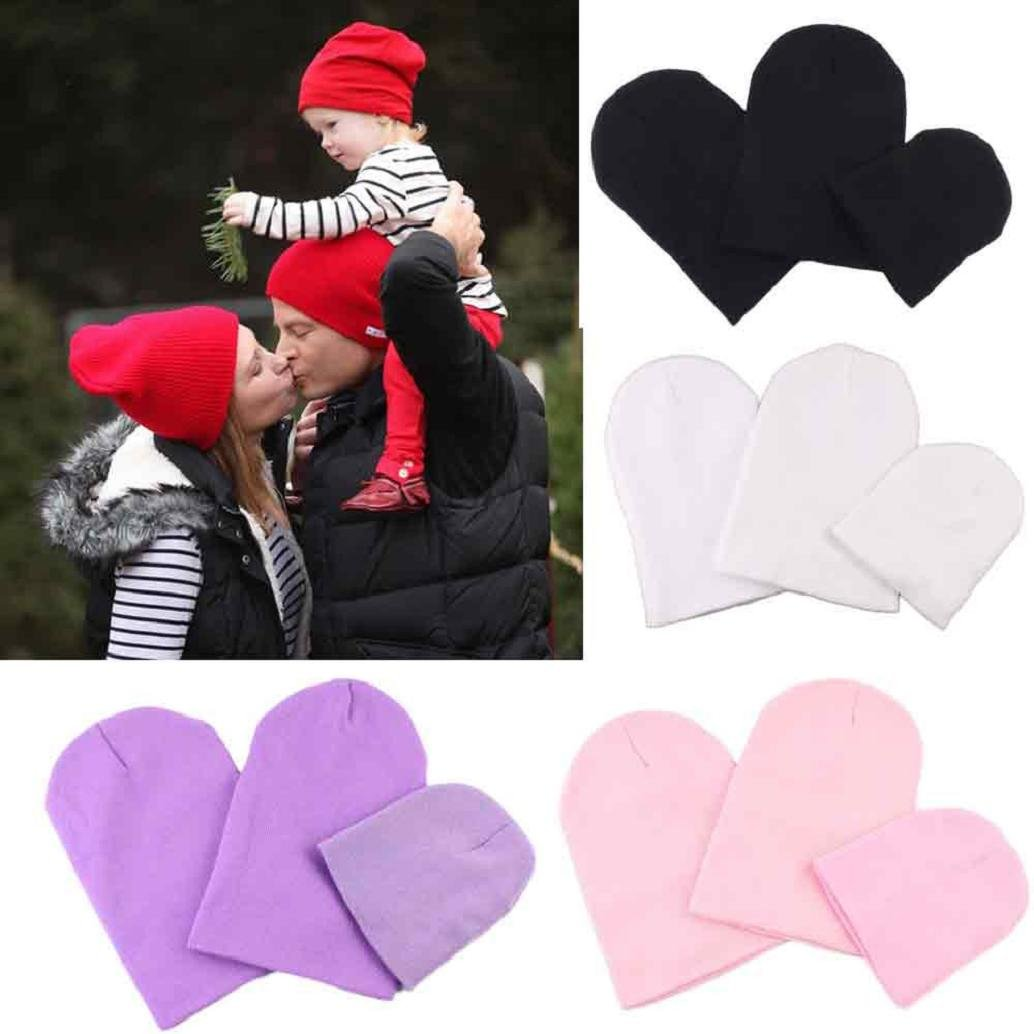 AMA(TM))) 3PCS Mom Dad and Baby Winter Warm Knitted Hat Beanie Cap