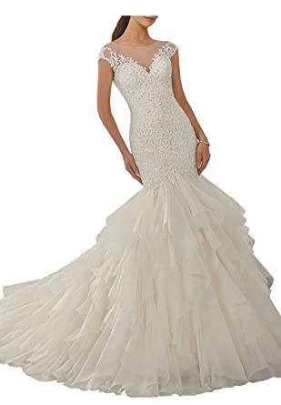 Zxht Women S Scoop Neck Beaded Lace Layered Wedding Dresses