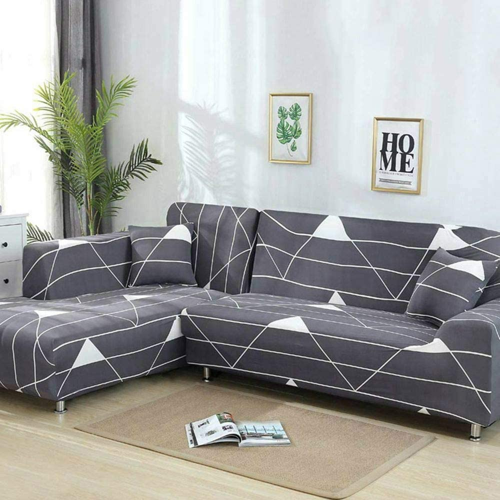 "TongBF All-Inclusive Stretch Fabric Sectional Sofa L Shape Slipcover for Living Room, 2pcs Polyester Fabric Slipcovers for 3 Seater(74""-90"") + 3 Seater(74''-90"") Couch Cover (Grey +White Strips)"