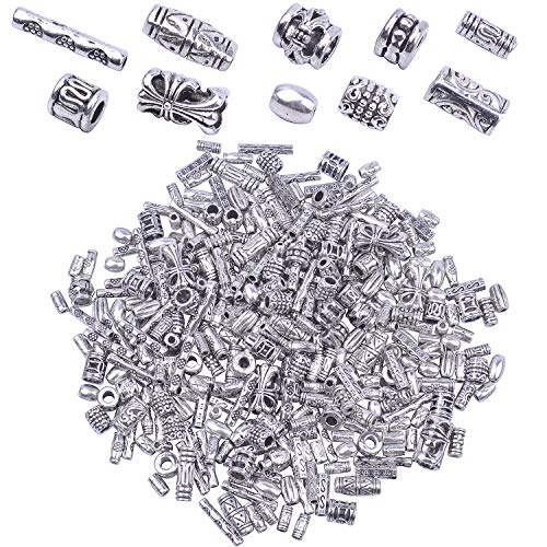 BronaGrand 100g (About 250-400pcs) Antique Silver Column Spacer Beads Bracelet Charms Necklace Pendants Jewelry Findings Accessories for Bracelet Necklace Jewelry Making