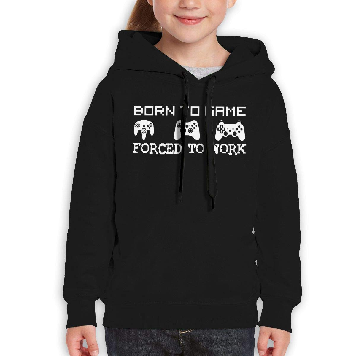 Boys Girls Born to Game Forced to Work Teen Youth Hoodie Black