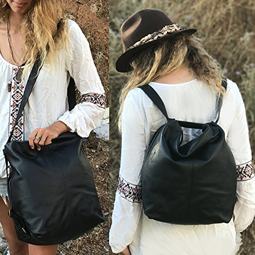 Black leather convertible crossbody backpack laptop woman's soft handmade back pack Shoulder bag by Leather Bags and Accessories Handmade by Limor Galili