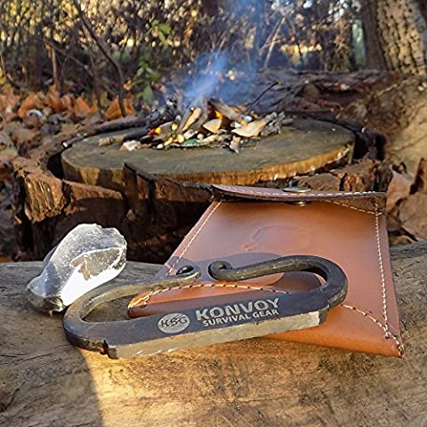 KonvoySG Carbon Steel Fire Striker, English Flint and Charcloth Fire Starter Kit, Traditional Hand Forged Gift Kit