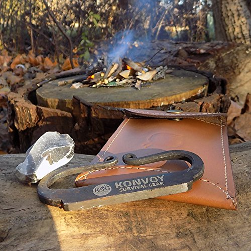 Fire Gift (KonvoySG Carbon Steel Fire Striker, English Flint and Charcloth Fire Starter Kit, Traditional Hand Forged Gift)