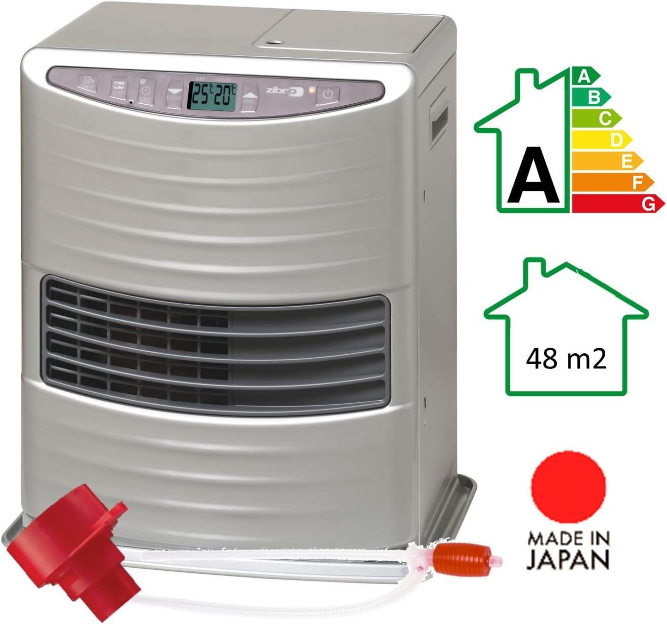Zibro LC 30 Estufa de Combustible Electrónica, Portátil, 3000W, Plata, 19m2-48m2, Sin Instalación, Con Filtro toyotube Incluido, Clase de eficiencia energética A