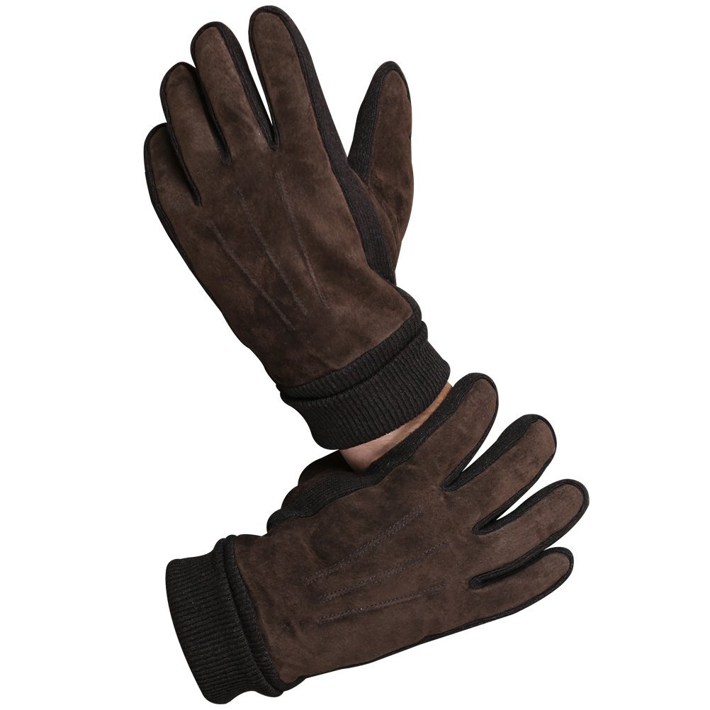 CHULRITA Mens Winter Genuine Leather Driving Work Gloves with Long Knitting Cuff, Brown, Large