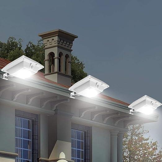 Upgrade PIR Sensor Super Bright 4 LED Solar Light,Night Light Solar Powered Fence Gutter Light Detector Lighting for Gutter Fence Yard MEIO 4 Pack Solar Motion Sensor Security Light