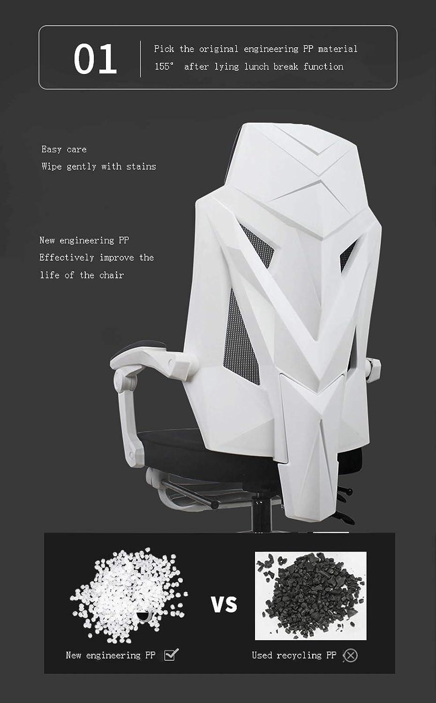 Ergonomisk liggare, dator kontor nät stol lyft svängstol, fritid konferensstol – vit Vitt