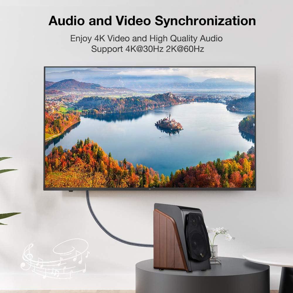 Snowkids - Cable HDMI de DisplayPort a HDMI, 4 K a 30 Hz, UHD DP a HDMI, cable de pantalla trenzado de nailon chapado en oro a HDMI compatible con PC, portátil