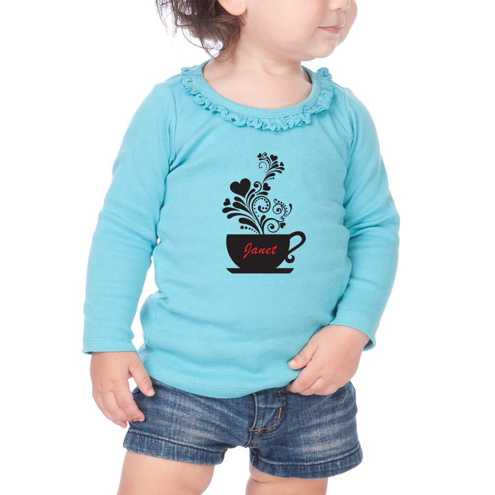 Personalized Custom Coffee Cup Cotton Toddler Long Sleeve Ruffle Shirt Top