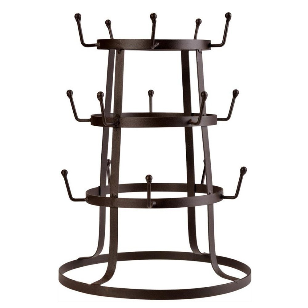 Mug Rack, 3 Tier Retro Rustic Brown Metal Wire Mug Tree Stand, Cup Drying Organizer Rack with 15 Hooks (US STOCK) evokem