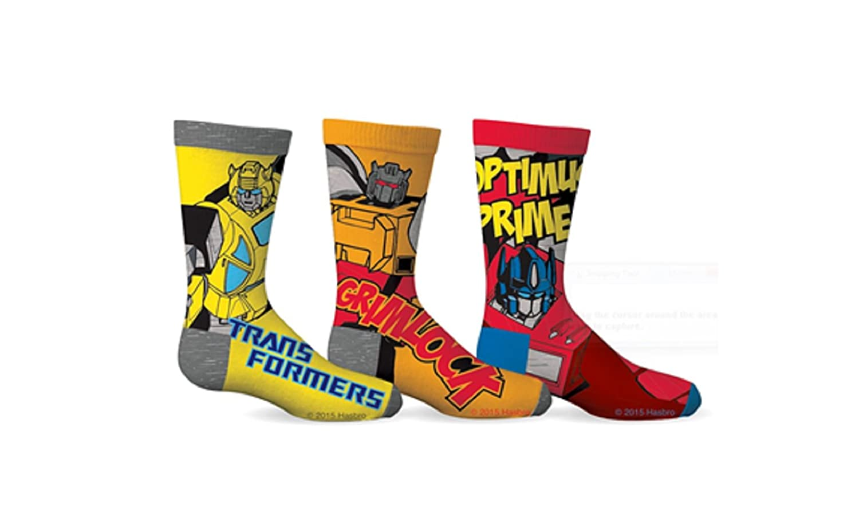 Transformers Boys Optimus Prime & Grimlock 3-Pack Crew Socks (Shoe Size 11-2) GERtx