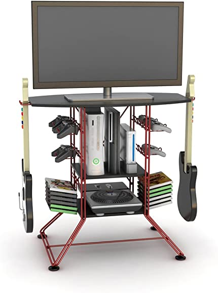 Atlantic Centipede Game Storage TV-Stand – 37 TV Stand, Durable Wire Construction with Game Storage, Organize your Games, Controllers, 4 Game Consoles and More ON 45506142B in Red