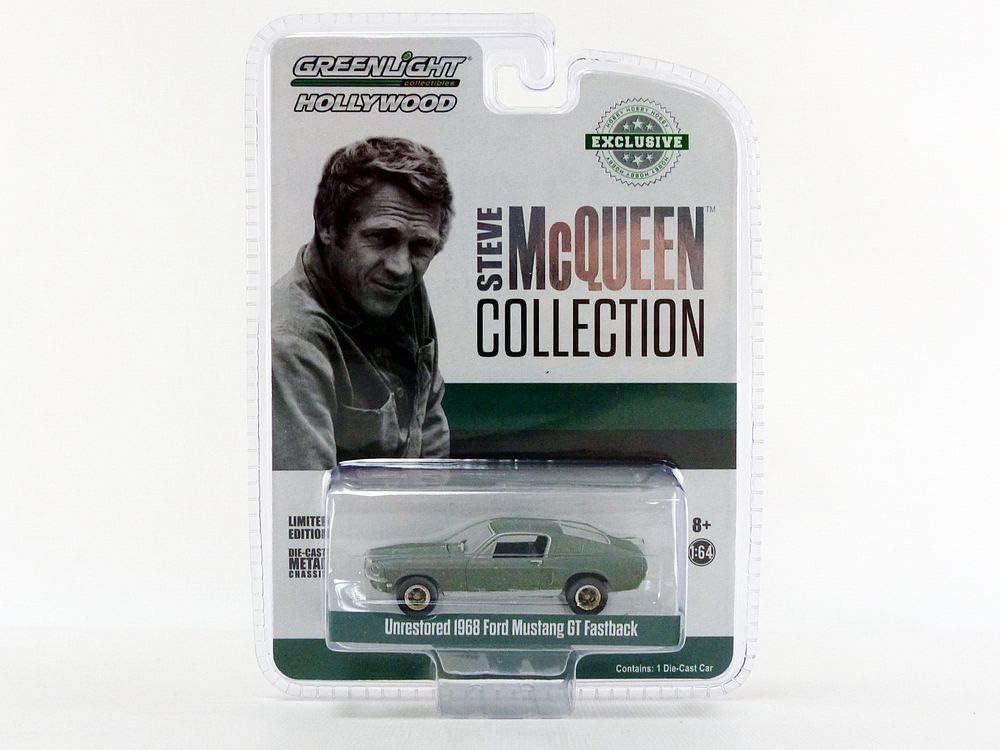 GREENLIGHT 44722 STEVE MCQUEEN 1968 FORD MUSTANG GT FASTBACK 1//64 UNRESTORED