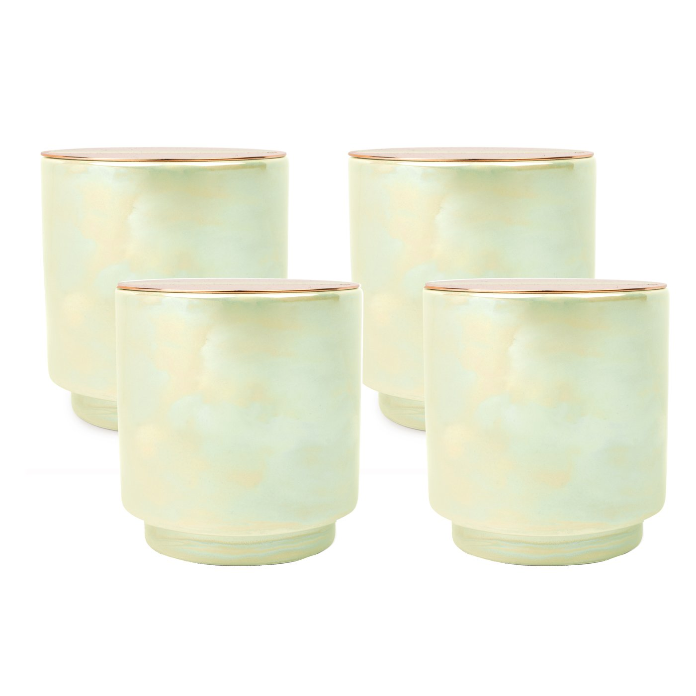 Paddywax Glow 17 Oz. Iridescent Ceramic Candle - Mint w/Copper Lid - White Woods & Mint - Pack Of 4