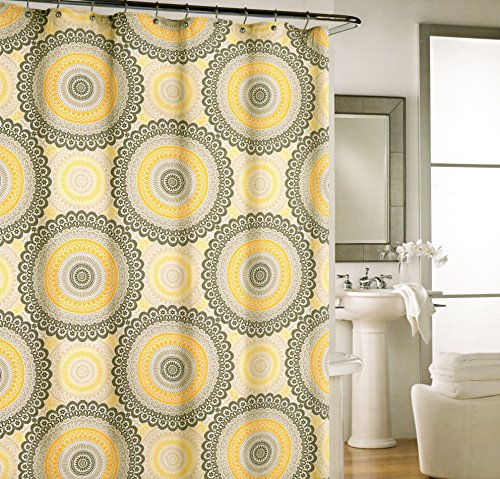 Cynthia Rowley Large Ornate Medallion Fabric Shower Curtain 72 By 72 Inch Shower  Curtain Yellow Ash Gray Beige Grey White