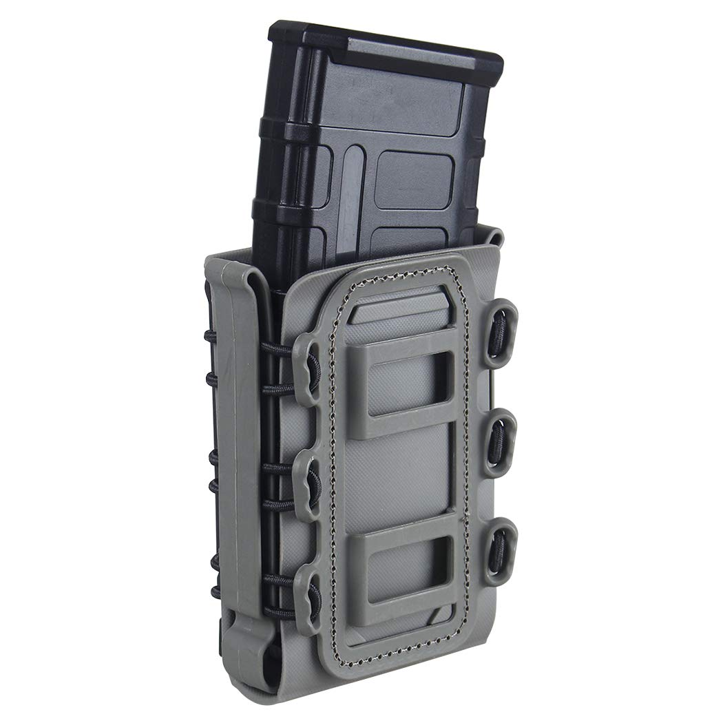 IDOGEAR 5.56mm 7.62mm Tactical Magazine Pouch Airsoft Hunting Shooting Molle Fastmag Soft Shell Mag Carrier Bag (Foliage Green)