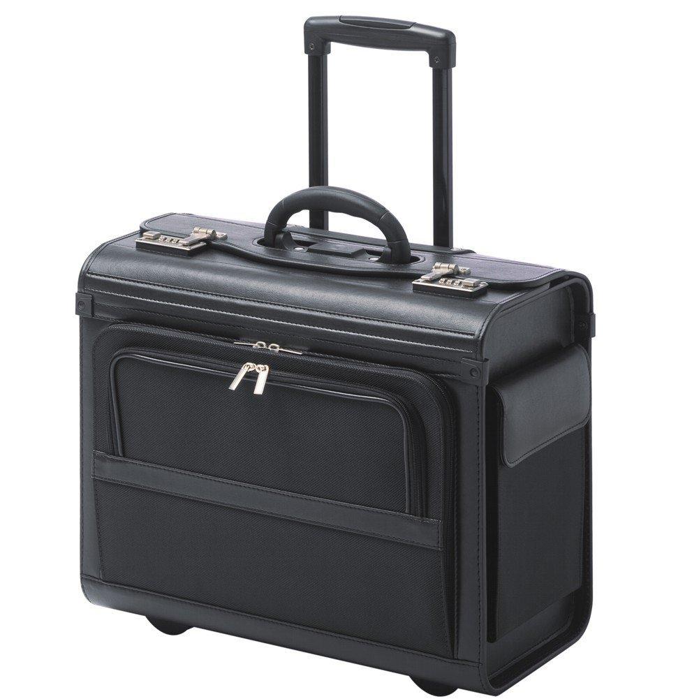Valise Mallette De Pilote Avec Trolley Roulettes Noir Polyester Serrure à Combinaison 38105