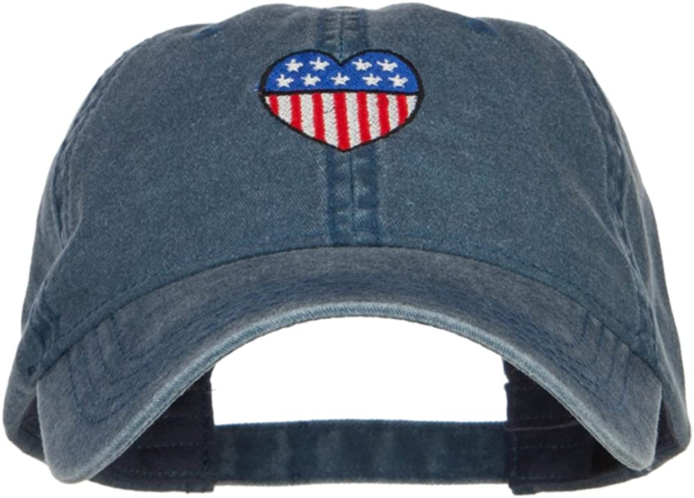 e4Hats.com Patriotic USA Heart Embroidered Washed Cap
