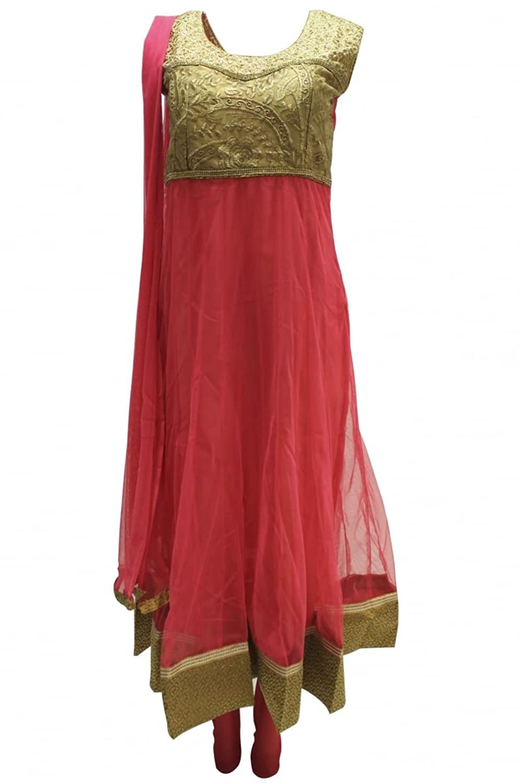 CSM1127 Salmon and Dark Golden Rod Churidar Suit Designer Indian Bollywood Chudidar