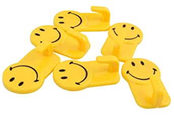 ROYALS Zhenxin Plastic Self-Adhesive Smiley Face Hooks, 1 Kg -6 Piece Set