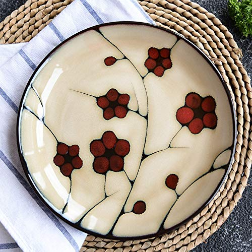 Ceramic Tableware, Hand-painted Leaves, Retro Western Dishes, Flat Plate, Creative Household Dishes (W21cm H2.5cm)