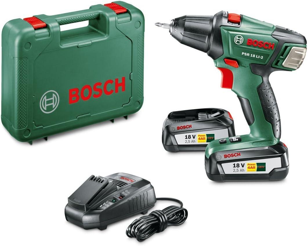 Perceuse visseuse sans fil Bosch - PSR 18 LI-2 (Livrée avec 2 batteries 18V-2,5Ah, embout de vissage double, coffret de rangement)