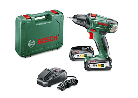 Bosch Akkuschrauber PSR 18 LI-2 (2 Akku, Ladegerät, Doppelschrauberbit, Koffer (18 V, 2,5 Ah, 35 mm Bohr-Ø in Holz))
