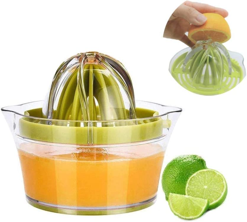 Manual Juicer, 4 in 1 Citrus Lemon Orange Juicer Manual Hand Squeezer with Built-in Measuring Cup and Grater