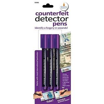Fake dinero lápiz Detector de billetes falsos Fiver Tenner 20 Quid 10 Quid X3 Pack detectar ...