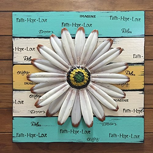 Daisy FLOWER Wall Garden Decor SIGN 16X16 Square - Reclaimed Pallet Distressed Wood with Metal Style *Cream Antique White Teal Blue Yellow *Great for baby nursery children's - 50s Mirror Style