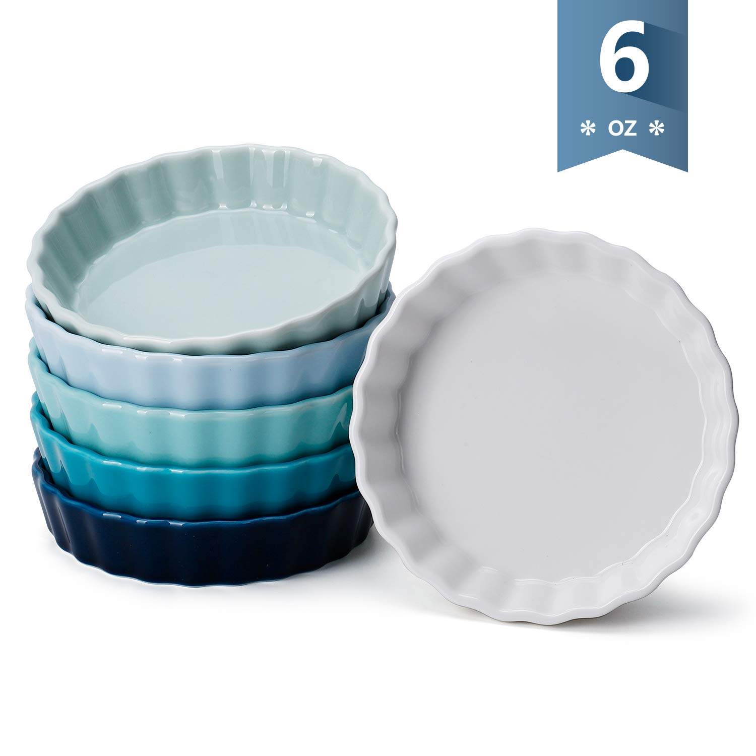Sweese 509.003 Porcelain Round Ramekins for Baking, 6 Ounce Creme Brulee Dish, Set of 6, Cool Assorted Color by Sweese