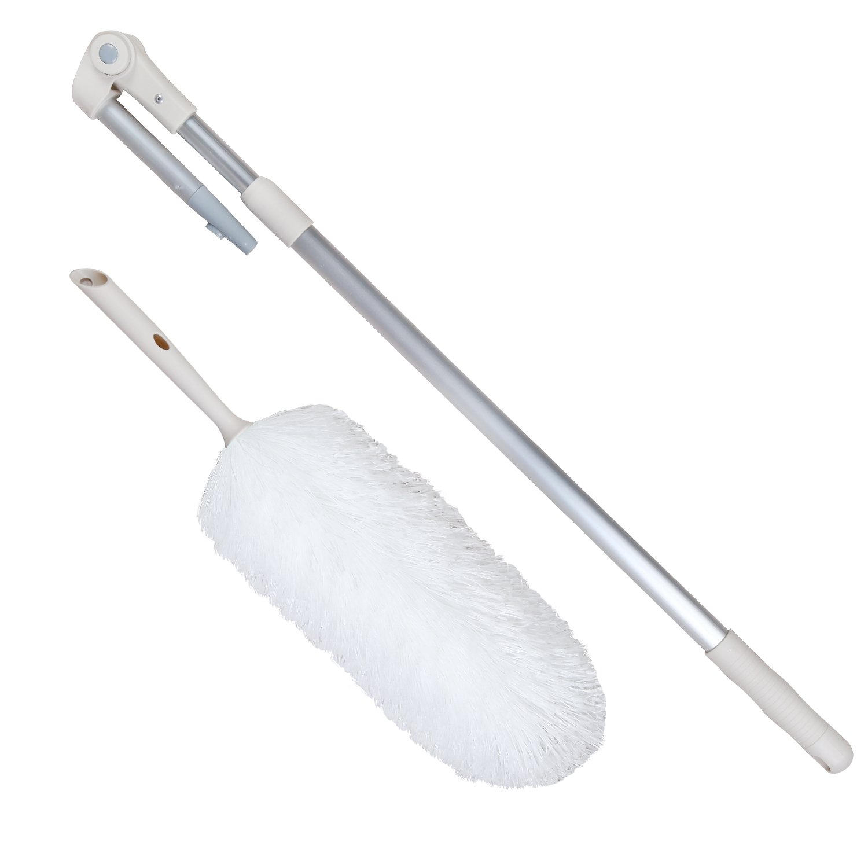 Extensible, flexible, ajustable y barra telescópica plumero de microfibra sin pelusas de peluche microscópico