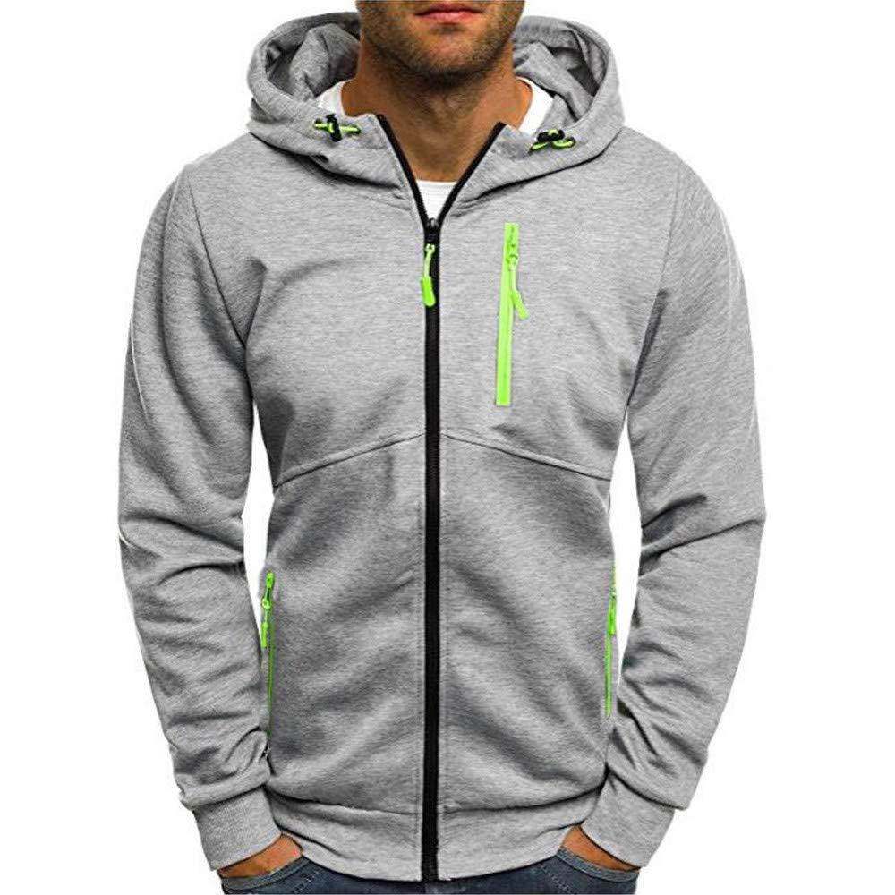 MODOQO Men's Casual Hoodies Jacket, Long Sleeve Zipper Plus Size and Tall Sweatshirt