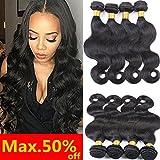 Brazilian Hair 4 Bundles,22 24 26 28 Inch AOSOME Body Wave Human Hair Bundles Real Crochet Remy Hair Extensions,Natural Black Review