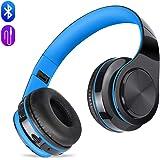 Auriculares inalámbricos Bluetooth, Headphones Plegables con Micrófono, Deportivos Estéreo HiFi Bajos Profundos Compatible con Smartphones, Tabletas, Computadoras, TV / PC de MeihuaTu-Azul