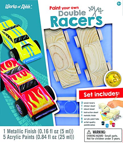 (MasterPieces Works of Ahhh Real Wood Large Acrylic Paint & Craft Kit, Double Racers, Mom's Choice Award, for Ages 4+)