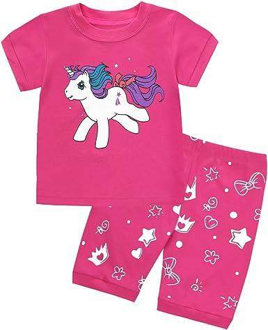 Eulla - Pijama de dos piezas para niña, manga corta, algodón, 92 ...