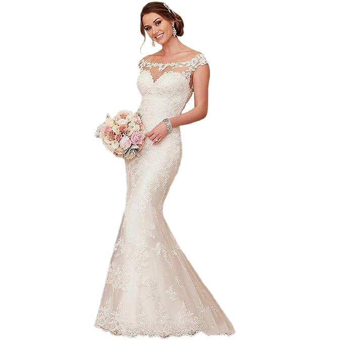 Vestido de novia con hombros al descubierto, encaje, tipo sirena, marca Engerla Blanco
