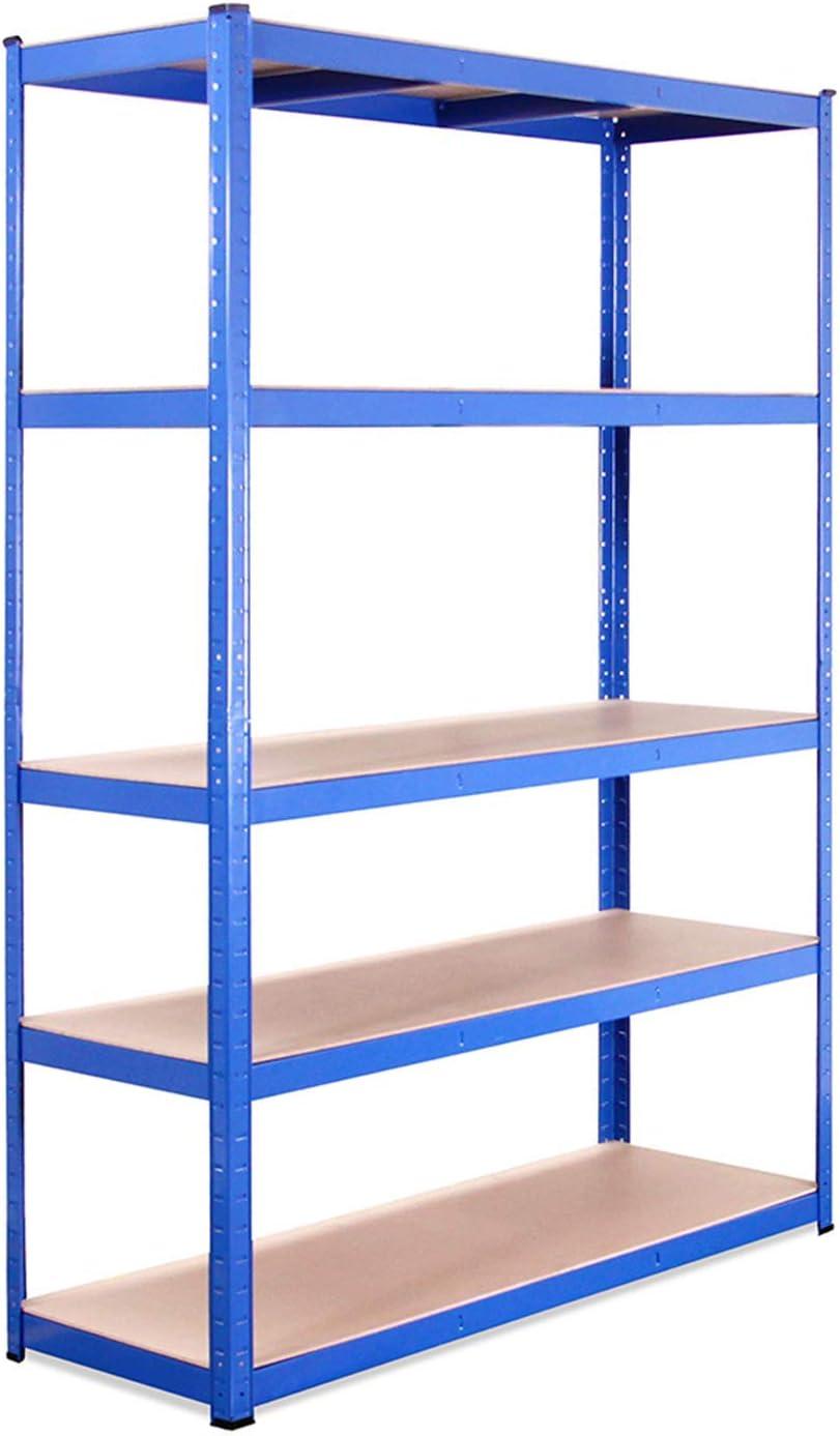 Estante de Almacenamiento para Garaje: 180 cm x 120 cm x 45 cm | Azul - 5 Estantes | 175 kg de Carga Cada balda (Capacidad para 875 kg) | Estantería para Garaje Muy Resistente - 5 Años de Garantía