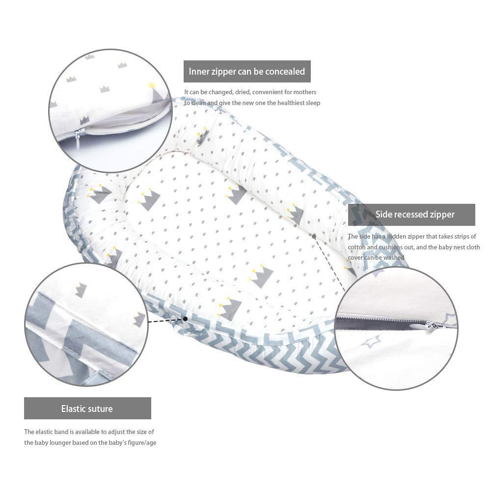 Yukefeng Riduttore Lettino Baby Nest Pod Riduttore Lettino Neonato Antisoffoco Riduttore per Letto Culla Multifunzionale Imita Grembo di Madri 100/% Cotone,per Bimbi 0-24 Mesi,80x50cm,Grigio