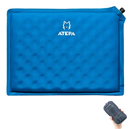 Atepa Self Inflating Stadium Seat Cushion Outdoor Portable Inflatable Seat Pad With Carrying Bag For Hard Bench Sports Camping Air Plane Ride