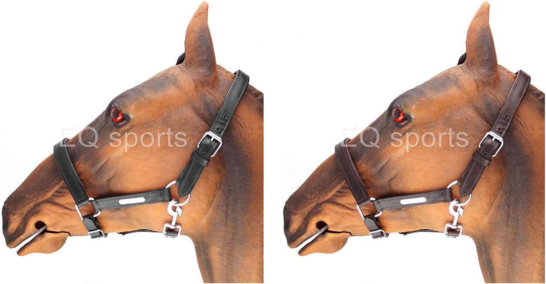 Cob Stallion Soft Padded Leather Headcollar Fully Adjustable Full Pony