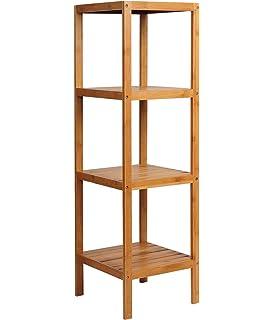 WOLTU RG9257m3 Étagère En Bambou étagère à Livres Rangement Salle De Bain  Cuisine Étagère,Environ