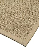Cheap NaturalAreaRugs Optimum Area Rug Natural Seagrass Hand-Crafted Khaki Wide Canvas Border, 4′ x 6′