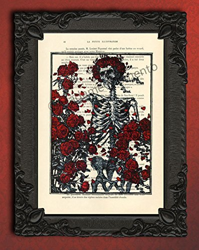 Skeleton with red roses dictionary art print, floral day of the dead wall decor