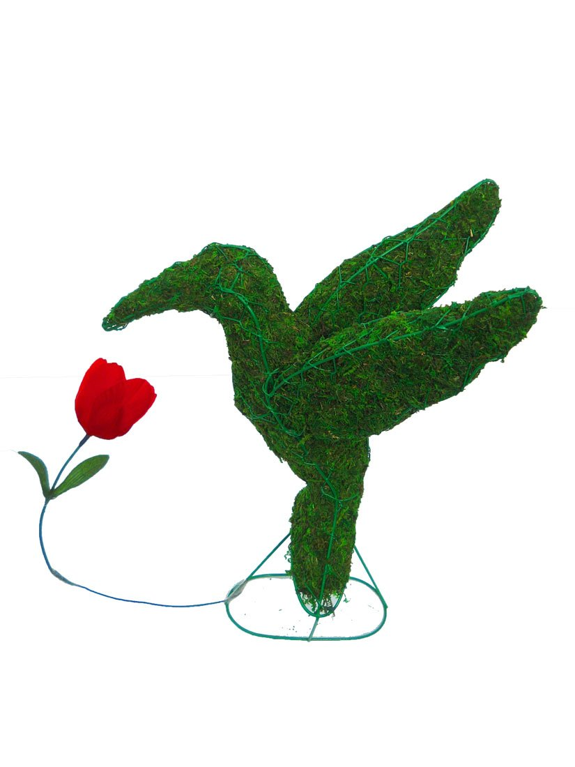 Hummingbird 22 inches high 20 inches long 12 inches wide w/ Moss Topiary Frame , Handmade Animal Decoration