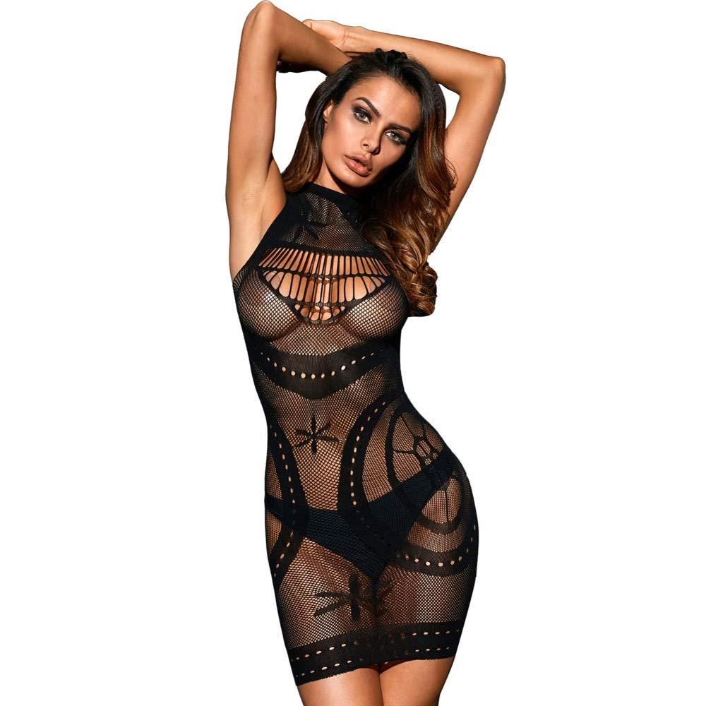 090d678eb45 Amazon.com  Kaamastra Women s Black Sleeveless Sheer Mesh Lingerie -  Bodystocking LC31092-2.  Clothing
