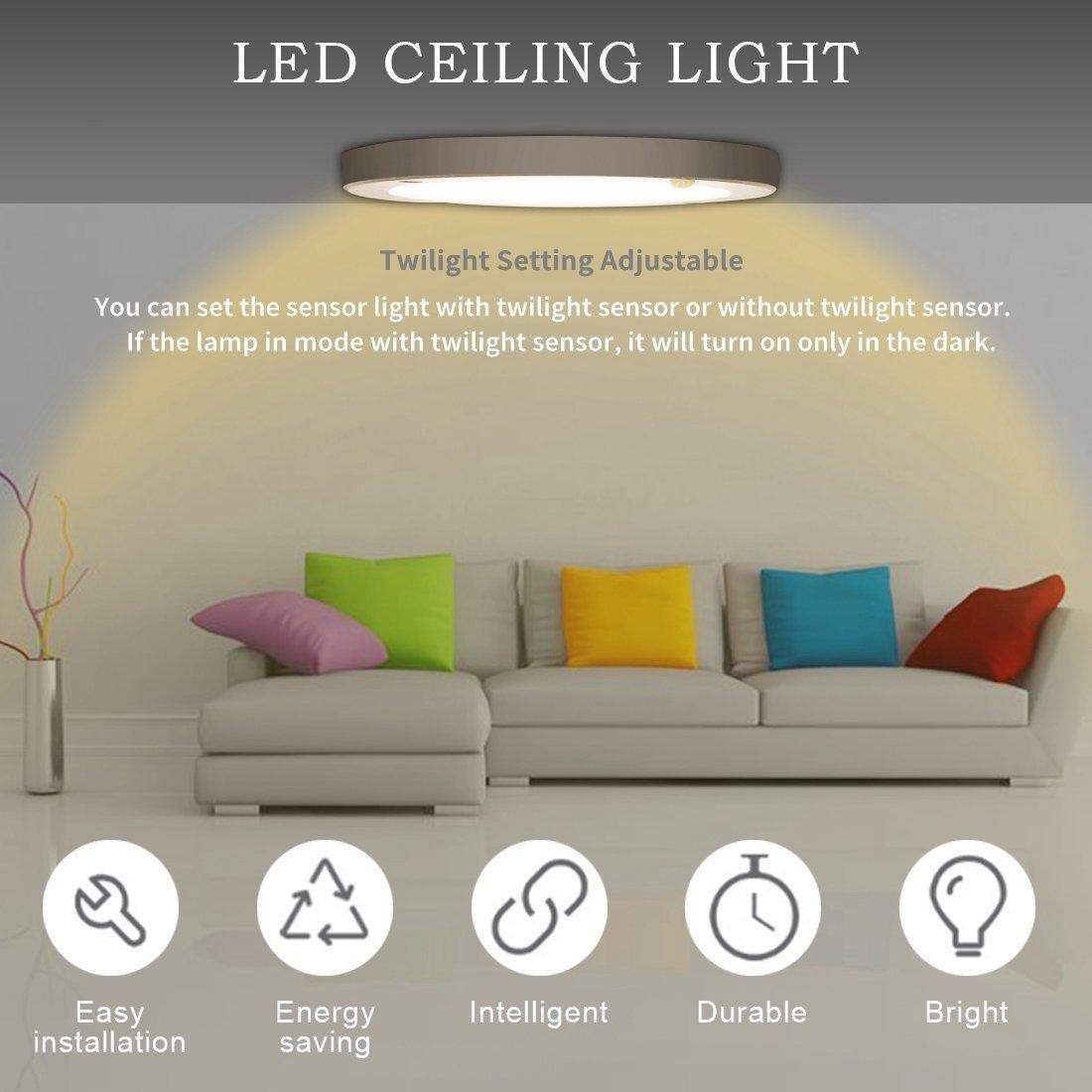 Kaday 18W Downlight LED Plafón con sensor de movimiento Lámpara de pared Techo Foco Empotrable,1200 LM,3000K Blanco cálido: Amazon.es: Iluminación