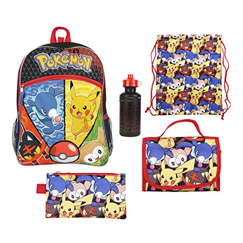 Pokemon Blue and Yellow Pikachu and More 16 Backpack Back to School Essentials Set for Boys